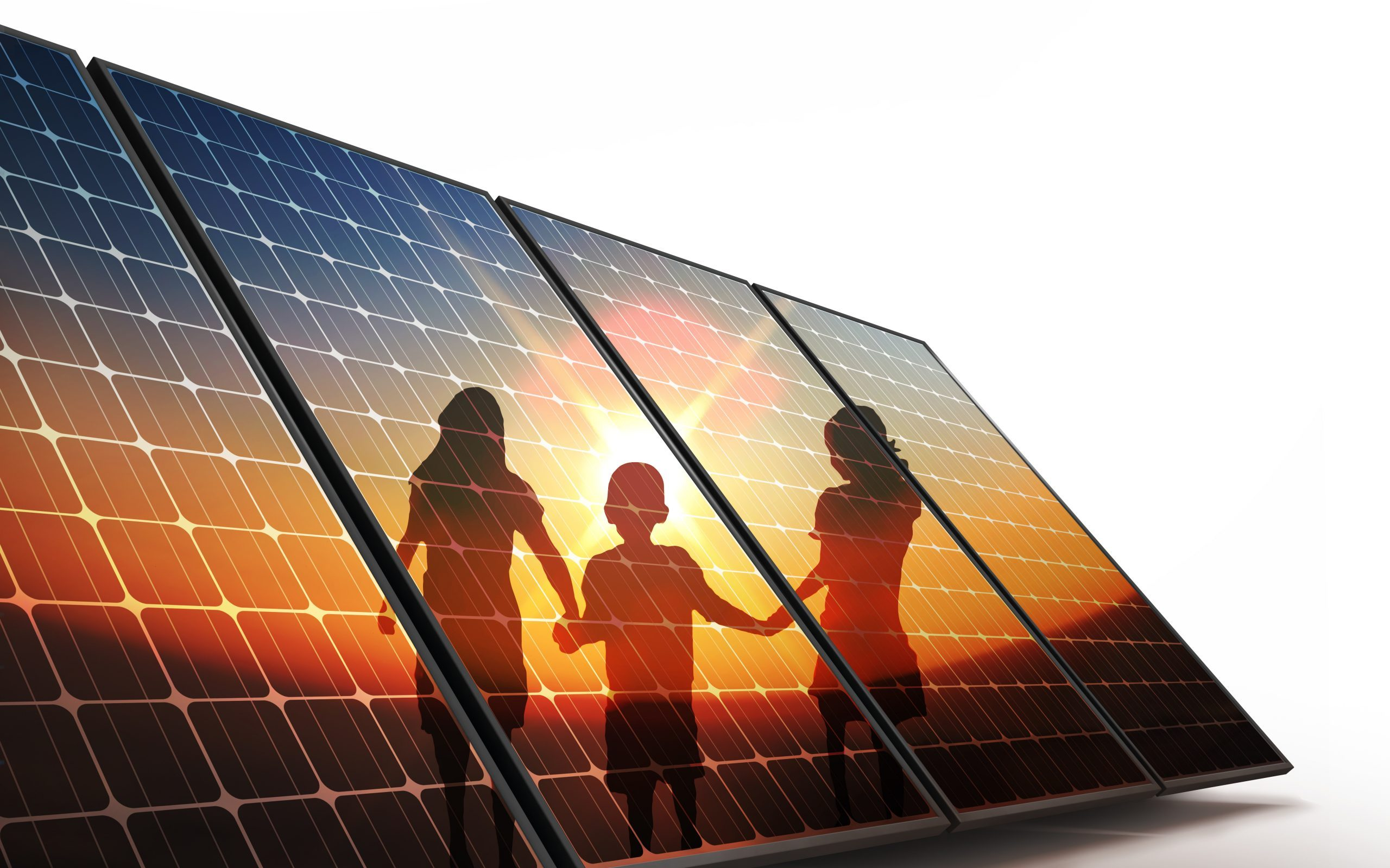 Isolated Photovoltaic cells, children walking hand in hand